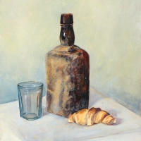 Dusty Bottle with Croissant