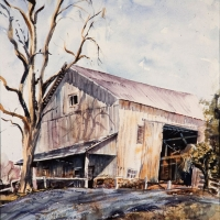 Gordon Whiting's Barn and Locust