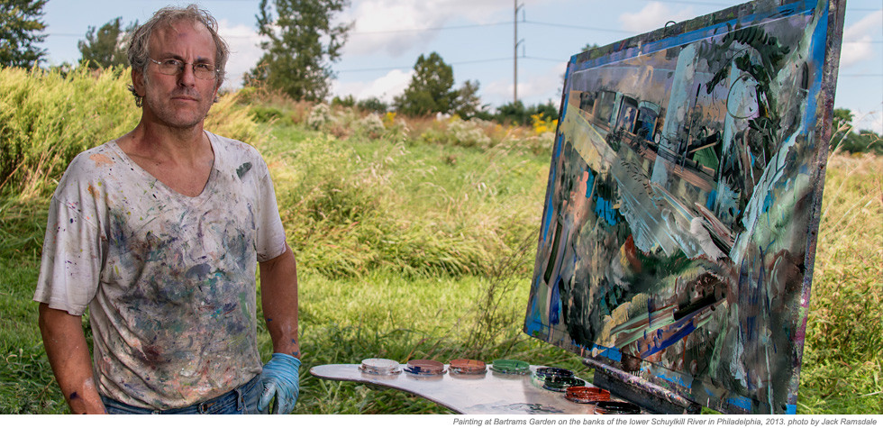 David Brewster painting at Bartrams Garden, Philadelphia, 2013
