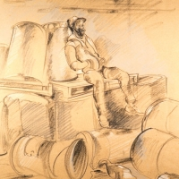 Man Sitting on Palettes and Barrels