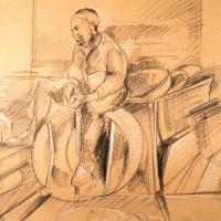 Man Sitting on Vent