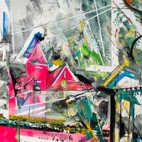 Queen Anne Neon, Oil on Mi-Teintes, 47 x 32 inches, 2019