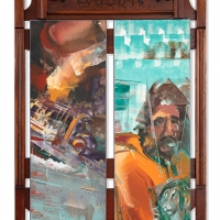 Incinerated_Bus_and_Uprising_Tiger_63x41_MT_on_Antique_Mirror_Frame_2019